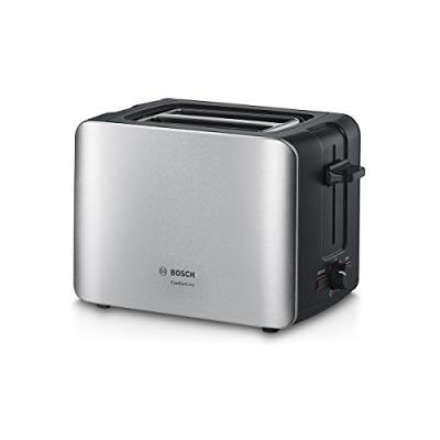 Bosch tat6 a913 compact grille-pain comfort line, pain automatique zent rierung, fonction décongélation, 1090 w, acier inoxydabl