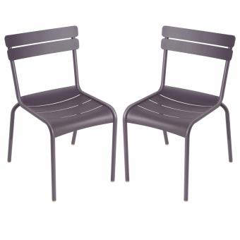 2 Chaises De Jardin Aluminium LUXEMBOURG Prune