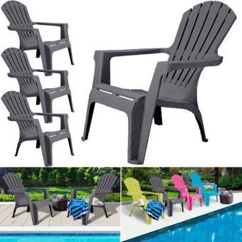 chaise Fauteuil gris de Mobilier de confort lot jardin x4 ChdxtsQr