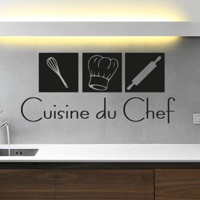Pick and Stick Sticker Mural déco Cuisine du Chef - 25 x 55 cm, Noir