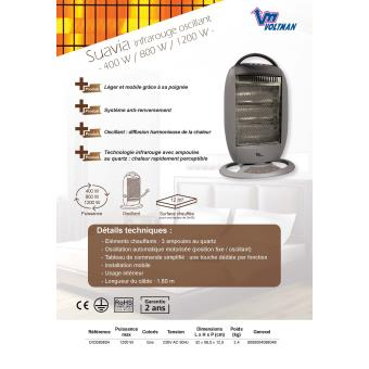 Plein Air DIO080804 Chauffage infrarouge oscillant 400 /à 1200 W