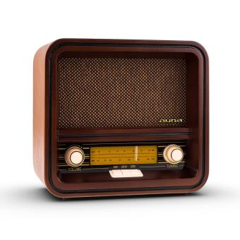 49 91 sur auna belle epoque 1901 poste radio look r tro en bois tuner fm am port usb pour. Black Bedroom Furniture Sets. Home Design Ideas