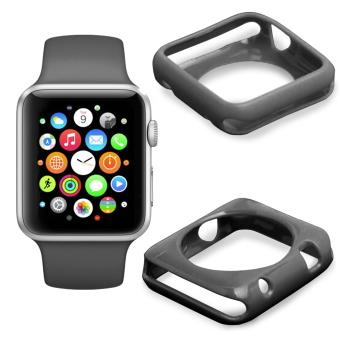apple watch etui coque de protection 42mm noir apple watch iwatch chiffon duragadget. Black Bedroom Furniture Sets. Home Design Ideas
