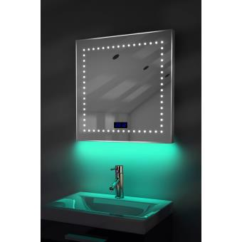 miroir salle de bain horloge num clairage rvb anti. Black Bedroom Furniture Sets. Home Design Ideas