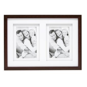 Deknudt Frames S65KQ2 Cadre Photo Double Passe-Partout pour 2 Photos Bois Brun 10 x 15 cm