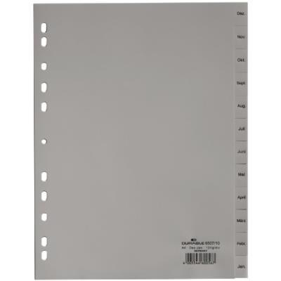 Durable 650710 répertoire avec mois de décembre à janvier (en langue allemande) 12 onglets avec perforation universelle gris lot