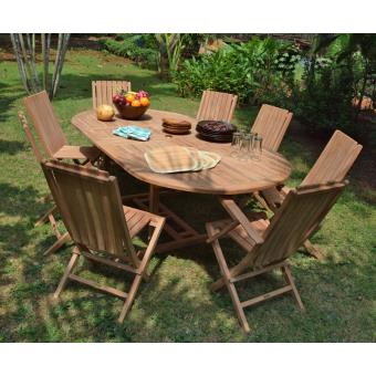 Salon de jardin en teck Ecograde Takeo, table extensible ...