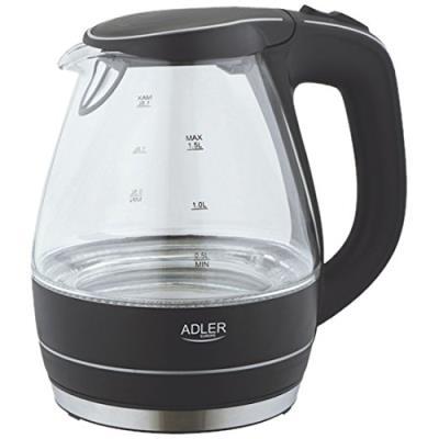 Adler ad-1224-bouilloire 1,5 litres verre noir