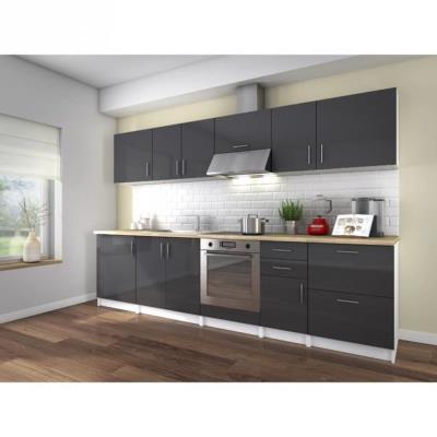 La cuisine complete NEO coloris laqué gris haute brillance est composée de 10 éléments pour une dimension totale de 3 metres. Le plan de travail est inclus (épaisseur 32mm décor bois), et les façades sont laquées sur MDF 16mm. Fabrication Européenne - Gar