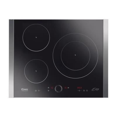 Candy CI 3640 ELITE - Table de cuisson à induction - 3 plaques de cuisson - Niche - largeur : 56 cm - profondeur : 49 cm - noir - avec garnitures latérale en acier inoxydable