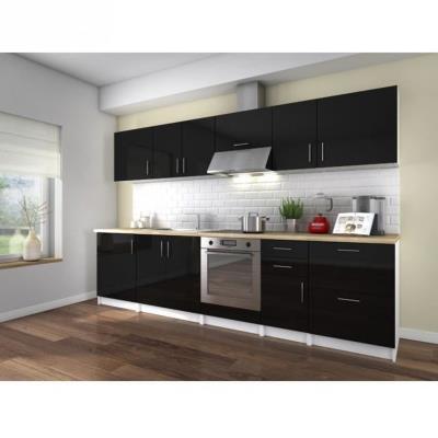 La cuisine complete NEO coloris laqué noir haute brillance est composée de 10 éléments pour une dimension totale de 3 metres. Le plan de travail est inclus (épaisseur 32mm décor bois), et les façades sont laquées sur MDF 16mm. Fabrication Européenne - Gar