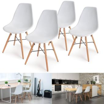 chaise lot x4 design scandinave blanche 4 pieds bois achat prix fnac - Chaise Blanche Scandinave