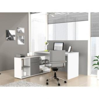 finlandek bureau d 39 angle ty 140cm blanc gris achat prix fnac. Black Bedroom Furniture Sets. Home Design Ideas