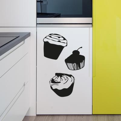 Pick and Stick Sticker Mural déco cupcake - 55 X 55 cm, Noir
