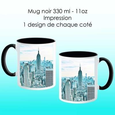 Mug noir avec design New York bleu