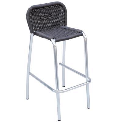 Chaise de bar en aluminium et wicker rond renforcé coloris marron dim h 99 x l 53 x p 54 cm