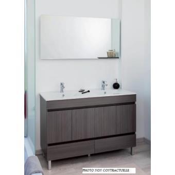 Aqua+ - meuble salle de bain blanc à poser 120cm portes+tiroirs livré monté  - lancelo