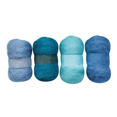 Laine cardée - Nuances de bleu - 4 nappes de 20 g