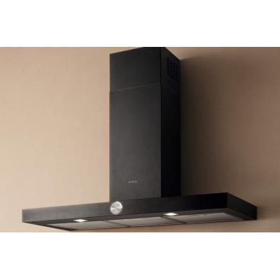 Elica Lol BL/A/90 - Hotte - hotte décorative - largeur : 89.8 cm - profondeur : 45 cm - extraction et recirculation (avec kit de recirculation supplémentaire) - noir gaufré
