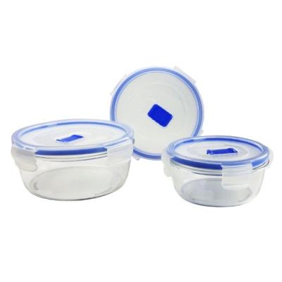 Luminarc 9207684 coffret 3 boîtes rondes avec couvercle pure box active verre transparent 19,5 x 14 x 19 cm