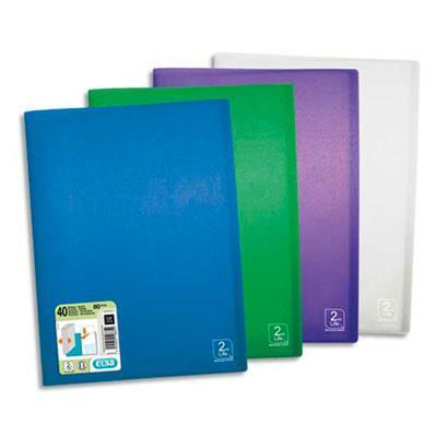 Lot de 10 Protège-documents 2nd LIFE en polypropylène translucide. 40 pochettes, 80 vues. Coloris assortis