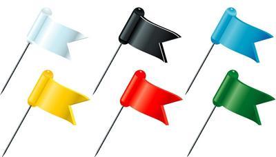 Epingles Exacompta Boîte de 20 drapeaux Coloris assortis