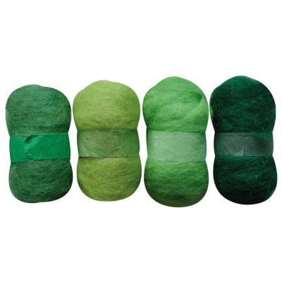 Laine cardée - Nuances de vert - 4 nappes de 20 g
