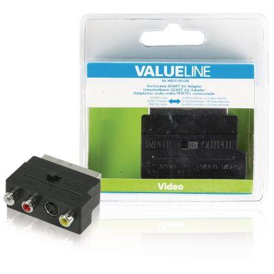 Adaptateur audio-vidéo PÉRITEL commutable à connecteur PÉRITEL mâle vers 3x RCA femelles + S-Video f