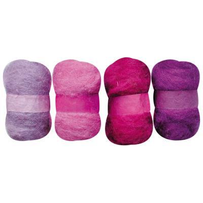 Laine cardée - Tons violet - 4 nappes de 20 g