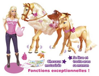 closer at best sell incredible prices Mattel - Barbie - Cheval trotteur et poulain - Poupée ...