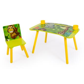 Ensemble Table Et Chaise Enfant Pour Loisirs Creatifs Motif De Jungle PEGANE