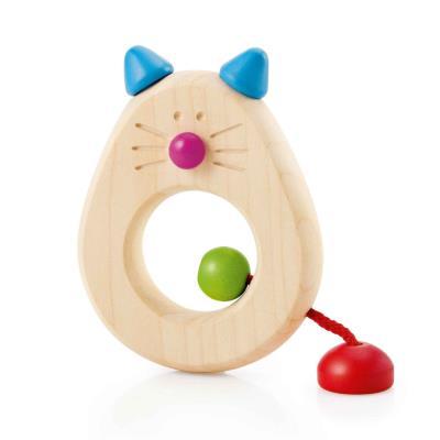Hochet en bois : catina, le chat à saisir selecta