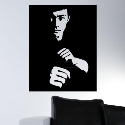 Pick and Stick Sticker Mural Bruce Lee Portrait 1 - 60 x 45 cm, Noir