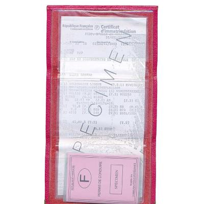 étui carte grise made in France simili cuir Porte papiers voiture rose fuchsia
