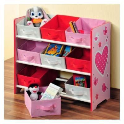 Meuble étagère pour chambre d'enfant - 9 paniers - Rose