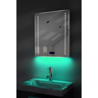 Miroir salle de bain horloge num., éclairage RVB, anti-buée ...