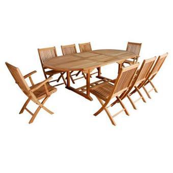 Salon de jardin Barcelone ovale 6 chaises + 2 fauteuils Teck grade A ...