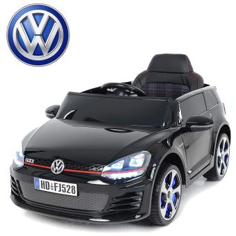voiture lectrique enfant volkswagen golf gti 12v roues led noir peinte t l commande. Black Bedroom Furniture Sets. Home Design Ideas