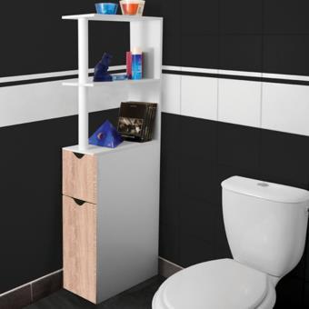 18 sur meuble wc tag re bois gain de place pour toilette 2 portes h tre accessoires salles - Meuble tv gain de place ...