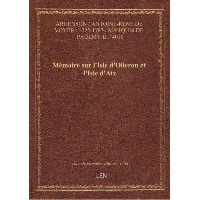 Mémoire sur l'Isle d'Olleron et l'Isle d'Aix