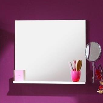 Miroir de salle de bain blanc avec tablette, H 57 x L 60 x P ...