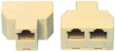 Adaptateur avec fiche RJ45 femelle et fiche RJ45 x2 femelle ivoire