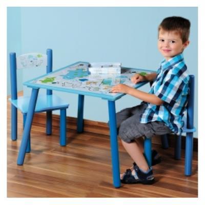 Table et deux chaises pour chambre d'enfants - Ensemble mobilier pour chambre garçon - Dinosaures