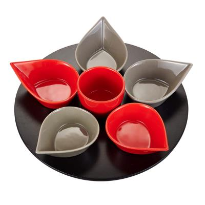 Table Passion - Service Aperitif Goutte 7 Pieces Rouge Gris - Plateau Tournant Diametre 32 Cm