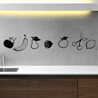 Pick and Stick Sticker Mural déco Fruits et légumes - 55 x 90 cm, Noir