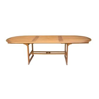 Table ovale extensible en bois exotique coloris naturel - Dim : 200/280 x  110 cm -PEGANE-