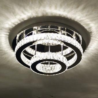 57 58 sur lustre plafonnier led cristal 2 cercles design diez achat prix fnac. Black Bedroom Furniture Sets. Home Design Ideas