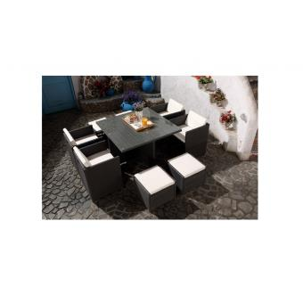 Le Vito : Salon jardin gris encastrable en résine 8 personnes ...