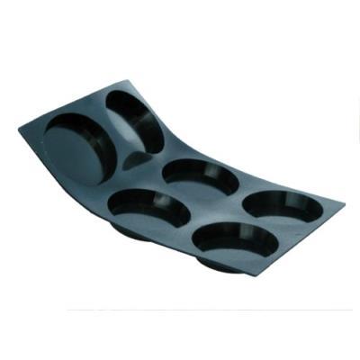 DeBuyer - Moulflex noir - Moule en silicone : Tartelettes 20 x 30 cm, soit 6 alvéoles