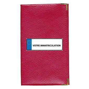 50-70% de réduction style classique de 2019 collection de remise Etui Protection cuir rouge Porte Carte Grise papiers voiture permis de  conduire à personnaliser avec votre immatriculation